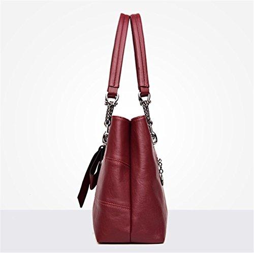 Damen Elegant handtasche Schultertaschen PU Leder Taschen Henkeltasche Shopper Rotwein