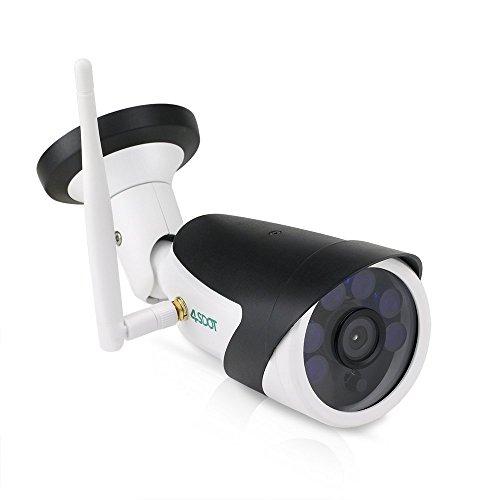 4SDOT Telecamera Sorveglianza wi-fi Esterno Senza Fili 720P IP Cam Wifi,Manuale Italiano,Visione Notturna,Rilevamento del Movimento,Supporto 64G TF Card,Vista a Distanza via IOS/Android/Windows PC