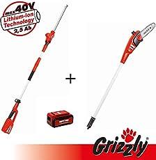 Grizzly 40V 2in1 Set, Set aus Teleskop Heckenschere und Hochentaster, Griffelemente mit Teleskopstiel und Schultergurt, inkl 40V 2,5 Ah Akku und Schnellladegerät