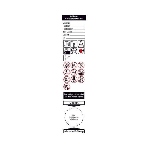 Aufkleber und Gebrauchsanweisung für Anlegeleitern Grundplakette Größe Einzeletikett (BxH): 4,0 x 20,0cm Folie 4 Stk/Bogen