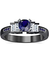 Silvernshine 1.35Ct Round & Buget Cut Blue Sapphire Sim Dimoands 14K Black Gold PL Engagement Ring