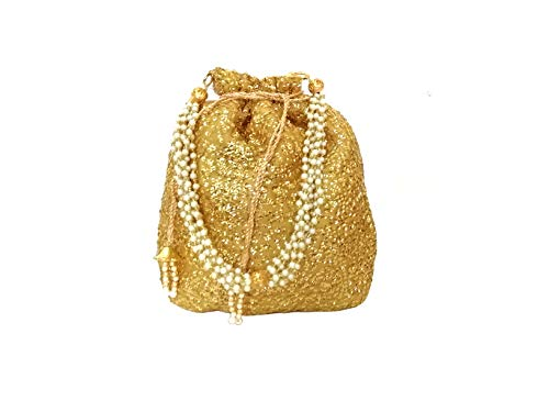 DUCHESS Designer Golden Polti Bag Pearl Handle and Tassel Ethnic Purse Women's/Girls's Handbag for Party, Casual, Bridal (Golden)