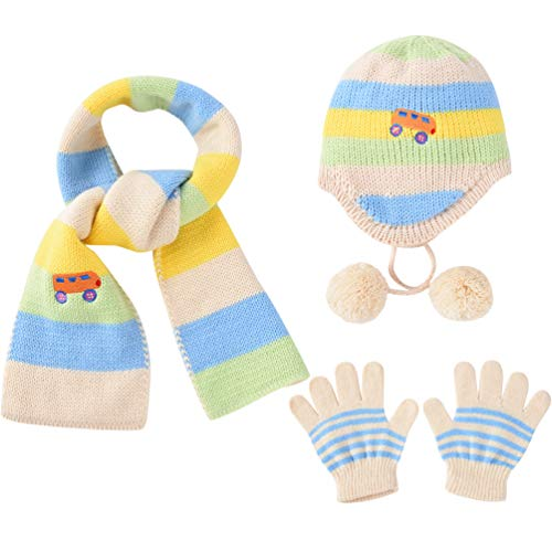VBIGER Kids Winter Hat Scarf Gloves Knitted Set Aged 1-5
