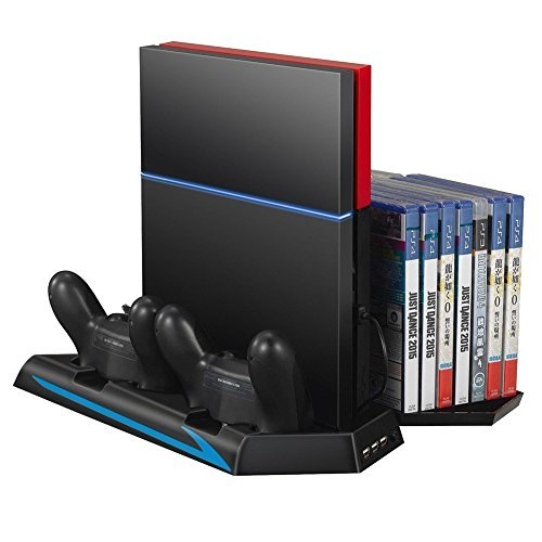 Mondpalast @ Vertikalständer Kühler Dual Ladestation Ladegerät Multifunktionale Vertical Standfuß Halterung mit 3 USB-Ports &14 Disc Storge für Sony Playstation 4 playstation 4 PS4 PS 4