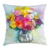 Gerber Daisy Throw Pillow Cushion Cover, Freshly Picked Summer Flowers in a Glass Vase with Water Oil Paint Art Print, Decorative Square Accent Pillow Case, 18 X 18 inches, Multicolor