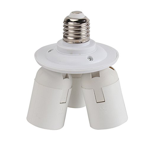 Weiß E27 Lampenfüße Glühbirne Base Socket Converter Adapter 3 in 1 -