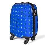 MasterGear Koffer für Kinder im Dinosaurier Design , Handgepäck Größe , Kinderkoffer mit 4 Rollen (360 Grad) , Trolley, Reisekoffer, Hartschalenkoffer, ABS, Zahlenschloss