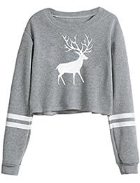 Oberteile Damen Herbst Winter Mumuj Fashion Niedlich Mädchen Deer Print  Sweatshirt Frauen Lose Crop Tops Freizeit Bauchfrei Bluse Langarm O… f9cb6afcc0