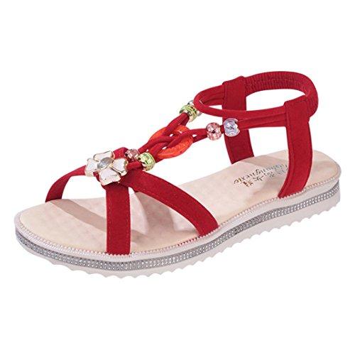 Transer® Damen Flach Draußen Drinnen Sandalen (Bitte achten Sie auf die Größentabelle. Bitte eine Nummer größer bestellen. Vielen Dank!) Rot