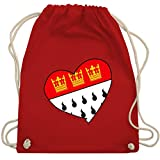 Shirtracer Karneval & Fasching - Köln Wappen Herz - Unisize - Rot - WM110 - Turnbeutel und Stoffbeutel aus Bio-Baumwolle