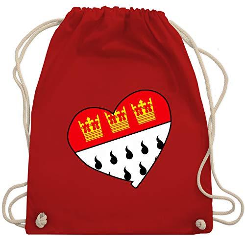 Karneval & Fasching - Köln Wappen Herz - Unisize - Rot - WM110 - Turnbeutel & Gym Bag