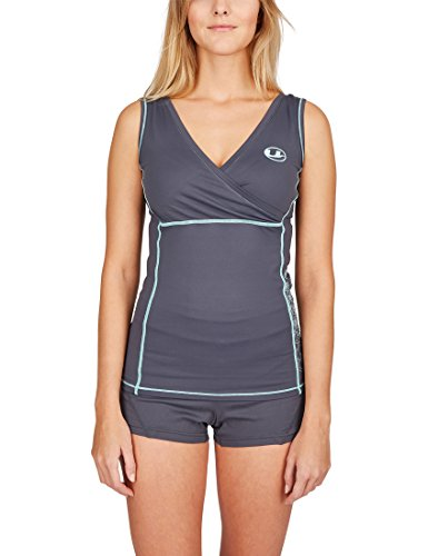 Ultrasport Damen-Funktions-Sport-/Fitness-Shirt mit Quick-Dry-Funktion, Grau/Mint, L