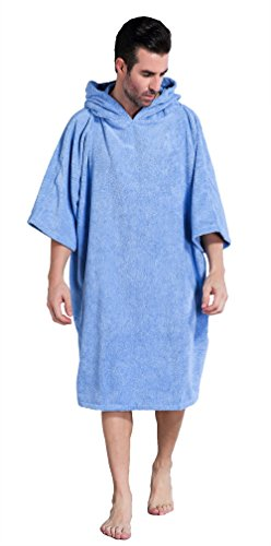 Winthome Bademantel mit Kapuze zum Umziehen am Strand / im Schwimmbad für Erwachsene Herren Damen, Badeponcho Handtuch (blau)
