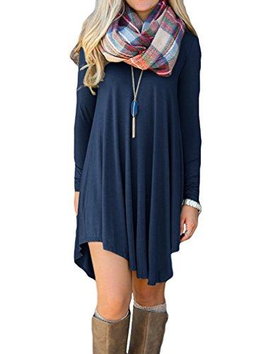 LILBETTER Damen Langarm-beiläufige V-Ausschnitt Stretch Basic Kleider (Dunkelblau XL)