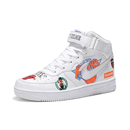 YSZDM Basketball-Schuhe, hoch zu helfen stoßdämpfung Rutschfeste atmungsaktiv männer und Frauen Sportschuhe Outdoor Laufschuhe Paar Schuhe,White,42 - Jordan Schuhe Männer