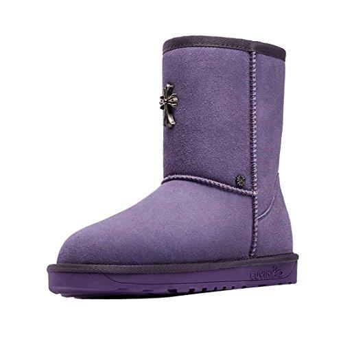 HooH Femmes Nubuck Métal Glisser Sur Bottes De Neige Violet