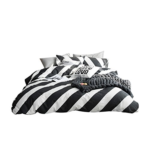 Smncnl Schlichten skandinavischen Stil Baumwolle 4 Stück Schwarz-Weiß Gestreiften Buchstaben Bettwäsche aus Reiner Baumwolle bis beddingThat Licht Nacht Eingestellt, 2,0 M Gesetzt (Weiß-bett-satz Schwarz Und)