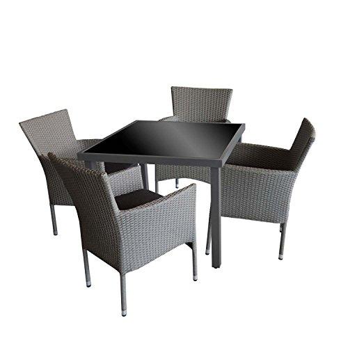 5tlg. Gartengarnitur Aluminium Glastisch 90x90cm mit schwarzer Tischglasplatte + 4x stapelbare Polyrattan Gartensessel grau-meliert inkl. Sitzkissen schwarz Sitzgruppe Sitzgarnitur Gartenmöbel Terrassenmöbel