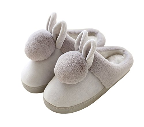 Rojeam Ladies Girls Rabbit Slippers Slip On Women Men Novelty Plush Warm Slippers