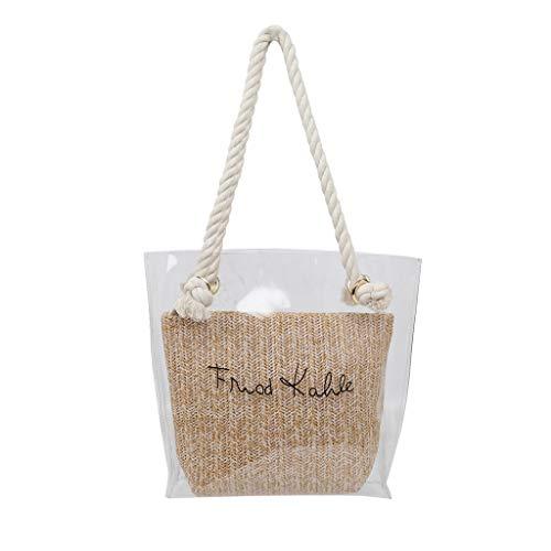 Strand-szene Stoff Handtaschen (Linkay Neuer HeißEr Verkauf Mode Wild Damen Transparent Tasche UmhäNgetasche Mit GroßEr KapazitäT Handtasche Stroh Kuriertasche UmhäNgetasche Rucksack (Braun)