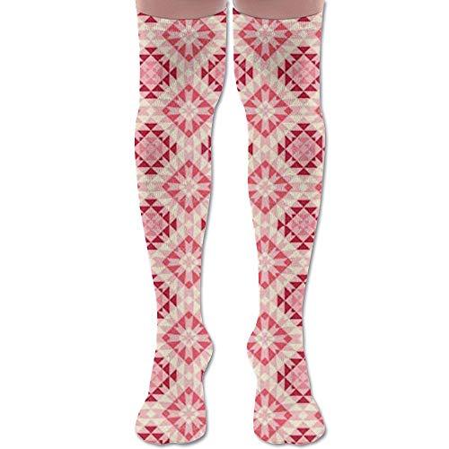 Not afraid Red Plaid Printing Unisex Knee High Long Socks Boot High Socks Length 50CM -