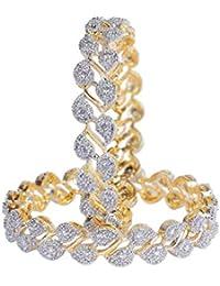 Jewels Galaxy Leaf Design American Diamond Adorable Bangles Set for Women/Girls