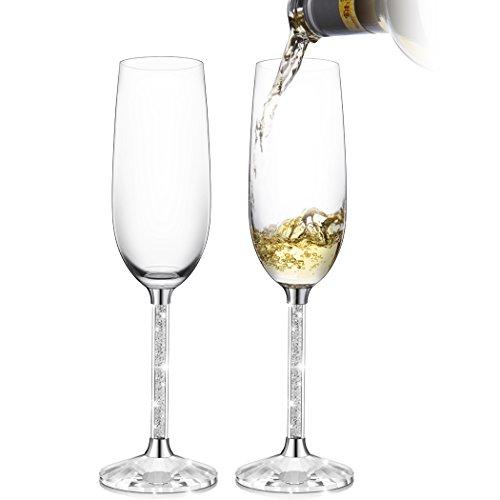 Erwei IFOLAINA Champagner-Gläser 2er-Set 8 Unzen Bleifreies Flöten-Stielglas mit langem Kristalldiamant-Stiel - Geburtstags-, Jubiläums- oder Hochzeitsgeschenke Champagner-set