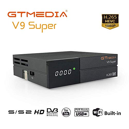 GT MEDIA V9 Super DVB S2 Decodificador Satelite Receptor Oficial Freesat Digital TV Sat Ricevitore Soporte H.265 1080P Full HD CCcam Newcam IPTV Youtube PVR PowerVu Biss chiave, con WiFi Incorporado