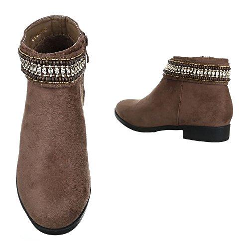 Komfort Stiefeletten Damenschuhe Schlupfstiefel Blockabsatz Western Reißverschluss Ital-Design Stiefeletten Braun