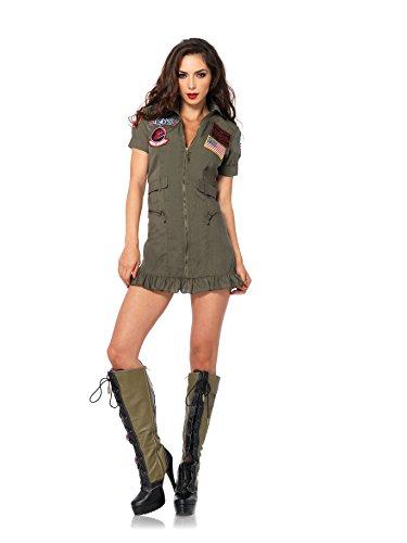Leg Avenue Damen 2Stück Top Gun Flight Reißverschluss vorne Kleid mit Aviator Gläser Gr. S, (Gun Flight Kostüme Top)
