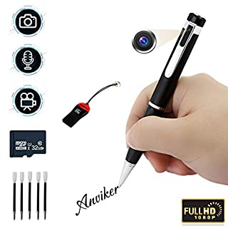 Hidden camera pen spy cameras 1080p surveillance camera,motion detection free 32GB micro SD built-in and 5 inks, voice and image executive multifunction security camera