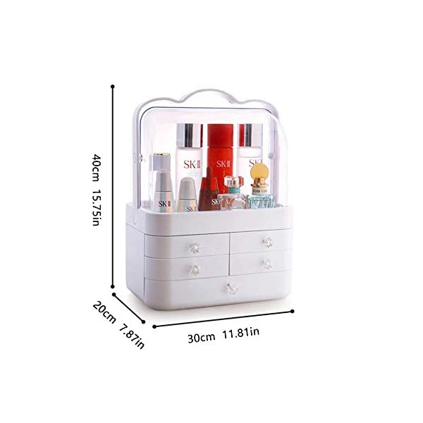 LFYPSM Makeup Storage Box, Modern Jewelry With Handle Storage Display Box, Waterproof And Dustproof Design, Suitable For Bathroom, Dressing Table And Countertop,Pink LFYPSM LEGANT LOOK: transparent top cover, white body, with cute handles, suitable for dressing table, bathroom counter or dressing table, make-up box can stand out in any place, create a clean and innovative appearance, for every lady Come to elegant charm. Practical and washable: A cosmetic storage lid with a lid keeps your items away from dirt and water in the bathroom or bedroom. Easy to clean with water. Large capacity: 1 large drawer, 4 intermediate drawers and 3 top trays, can hold at least 16 makeup brushes, 15 lipsticks, 10 nail polishes, 10 eyeliner, 5 large eye shadow palettes and other small The daily collection is a great way to organize your work. 3