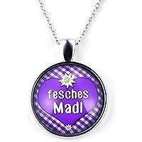 SCHMUCKZUCKER Damen Kette mit Anhänger Fesches MADL Kurze Modeschmuck Kette Silber-Farben violett 25mm