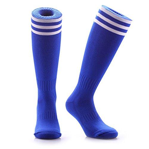 Samson Strumpfwaren® Fußball Socken Striped Knee High Stripe Large Unisex Hockey Rugby Herren Damen Gr. L, Mehrfarbig - Blau