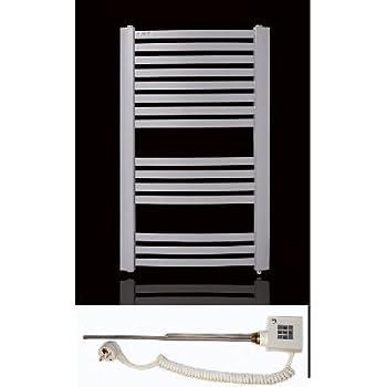 Badheizkörper 870h x 550b elektrisch weiss gebogen 518 Wattinkl. Heizpatrone KTX-2-600 (600 Watt) und BefüllungHeizkörper wird montagefertig geliefert