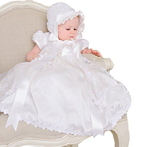 Kengtong Taufkleid Spitze Festkleid Mädchen Babykleid Baby Taufe gestricktes Kleid (Weiß,...