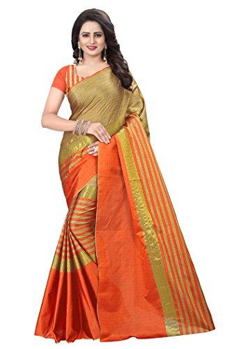Mona Designer Women's Cotton Silk Saree with Blouse Piece (Orange)