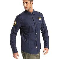 zxc Top Camisas Casuales, Camisas De Manga Larga Hombre Casual,Azul Marino,M