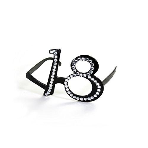 Oblique Unique® Brille 18. Geburtstag, schwarz mit transparenten Strass-Steinen