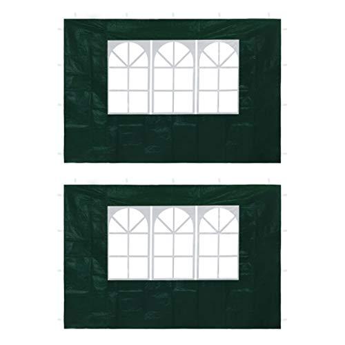 vidaxl 2x pareti per tendostruttura con finestra verde gazebo tenda giardino