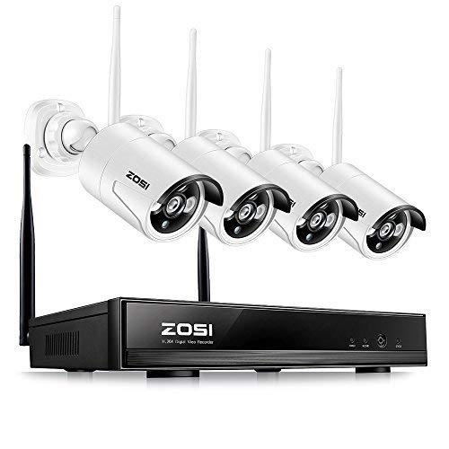 ZOSI 4CH HD 960P NVR Funk Überwachungsset mit 4 Drahtlos 960P 1.3Megapixel Außen Tag Nacht IP Überwachungskamera Set Wireless CCTV System, 30M IR Nachtsicht, ohne Festplatte