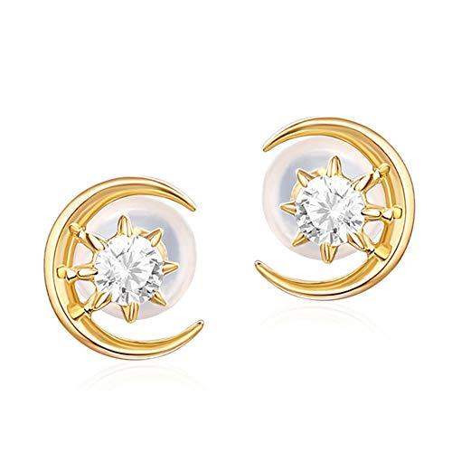 Z-Earring@ Ohrringe für Frauen, 14 Karat Gold Sterne Mond Stil Ohrstecker mit Zirkonia Simuliert Diamant Modeschmuck Geschenke für Dame Frauen Mädchen (Weiß-diamant-ohrringe 14k)