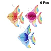 STOBOK Paper Foldable Tropical Fish Decoration, Hanging Ornament, Home Bedroom Office Party Decoration Supplies - 6pcs (Gold + Pink + Blue)