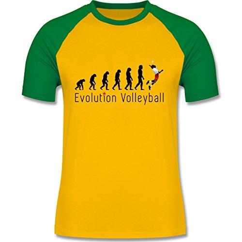 Shirtracer Evolution - Volleyball Evolution - Herren Baseball Shirt Gelb/Grün