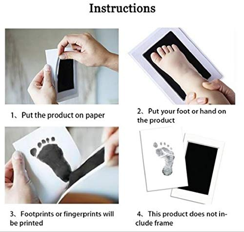 Color Black Desi Rang Baby Hand and Footprint Impression DIY no Touch kit Safe Non Toxic Ink pad