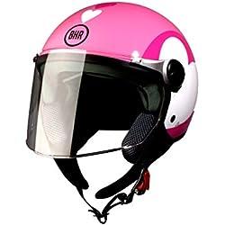 BHR 93776 Demi-Jet Love 710 Casco de Moto, Color Rosa, Talla 53/54 (XS)
