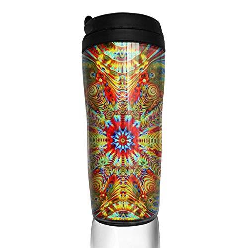 Travel Coffee Mug Psychedelic Trippy2 12 Oz Spill Proof Flip Lid Water Bottle Environmental Protection Material ABS