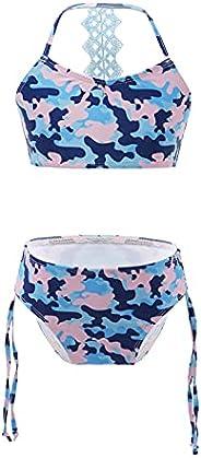 TiaoBug Niñas Traje de Baño de 2 Piezas Bañador de Flor Estampado Bikinis Conjunto Tops y Brahuitas de Natació