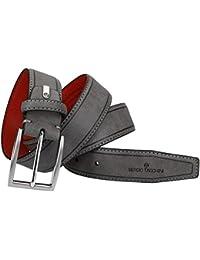 Cinturón hombre SERGIO TACCHINI gris con pespuntes laterales VR1375