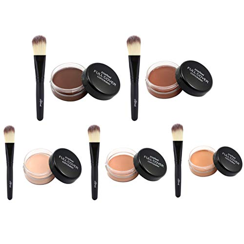 IPOTCH 5 Piezas Polvo de Base de Maquillaje Corrector en Crema Cepillo de Polvo Pincel de Fundación de Maquillaje